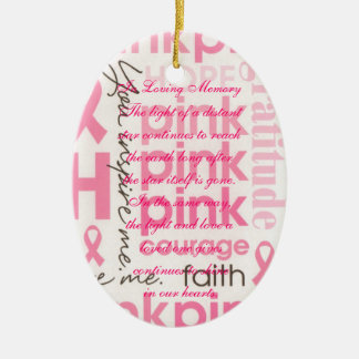 Pink Bows Breast Cancer Death Memorial Ornament