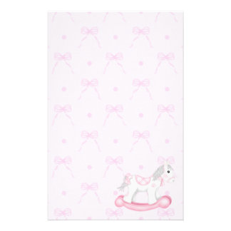 Pink Bows & Rocking Horse Stationery