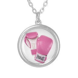 pink boxing gloves fight against cancer silver plated necklace