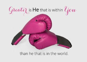 2454ef2c77 Pink Boxing Gloves Scripture Cancer Encouragement Card