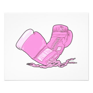 pink boxing gloves vector full color flyer