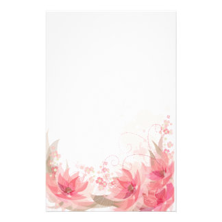 Pink & Brass Flowers - Stationary - 1 Stationery