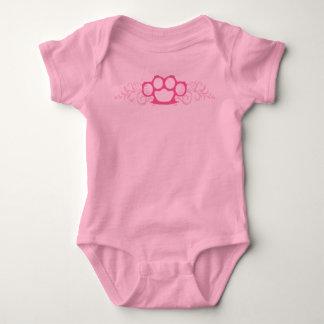 Pink Brass Knuckles Baby Bodysuit