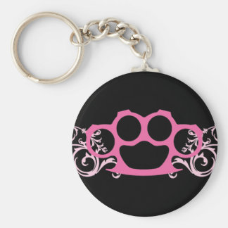 Pink Brass Knuckles Keychain