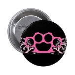 Pink Brass Knuckles Pinback Button