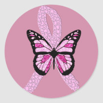 Pink Breast Cancer Awareness Butterfly Ribbon Classic Round Sticker