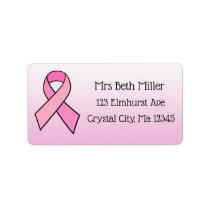 Pink Breast Cancer Awareness Return Mailing Label