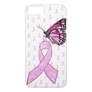 Pink Breast Cancer Awareness Ribbon Butterfly Case