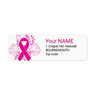 Pink Breast Cancer awareness ribbon flower outline Label