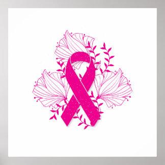 Pink Breast Cancer awareness ribbon flower outline Poster