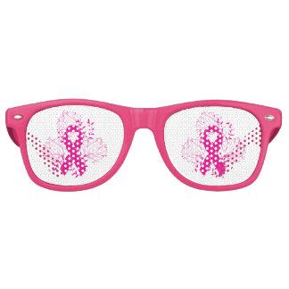 Pink Breast Cancer awareness ribbon flower outline Retro Sunglasses
