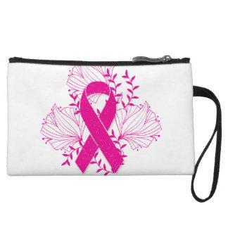 Pink Breast Cancer awareness ribbon flower outline Wristlet