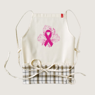 Pink Breast Cancer awareness ribbon flower outline Zazzle HEART Apron