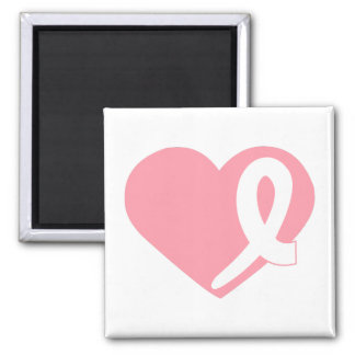 Pink Breast Cancer Heart ribbon square magnet