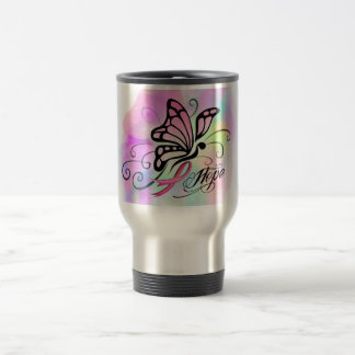pink breast cancer ribbon butterfly hope design travel mug