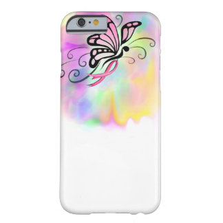 pink breast cancer ribbon, butterfly watercolor barely there iPhone 6 case