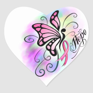 pink breast cancer ribbon butterfly watercolor heart sticker