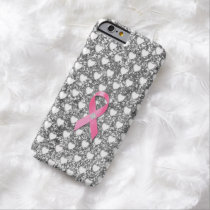 Pink Breast Cancer Ribbon Silver Glitter Look Barely There iPhone 6 Case