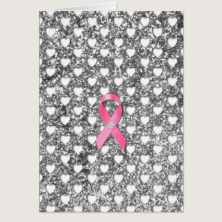 Pink Breast Cancer Ribbon Silver Glitter Look Card