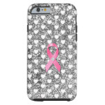 Pink Breast Cancer Ribbon Silver Glitter Look Tough iPhone 6 Case
