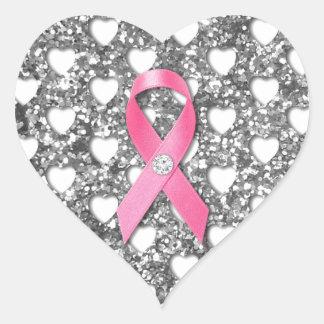 Pink Breast Cancer Ribbon Silver Glitter Look Heart Sticker
