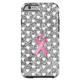 Pink Breast Cancer Ribbon Silver Glitter Look iPhone 6 Case