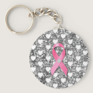 Pink Breast Cancer Ribbon Silver Glitter Look Keychain