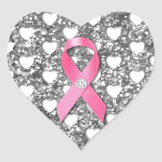 Pink Breast Cancer Ribbon Silver Glitter Look Sticker