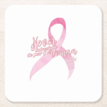 Pink Breast Cancer Support Square Paper Coaster