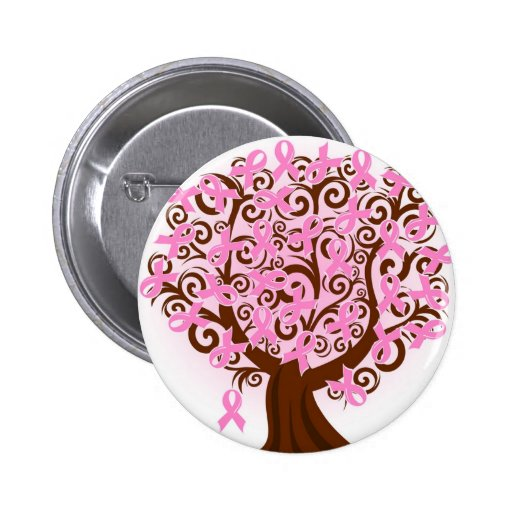 Pink Breast Cancer Tree of Hope Buttons