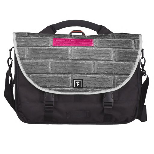Pink Brick In A Black & White Wall Bags For Laptop