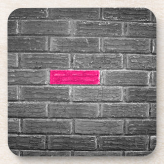 Pink Brick In A Black & White Wall Beverage Coaster