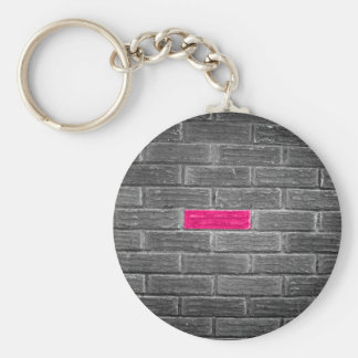 Pink Brick In A Black & White Wall Keychain