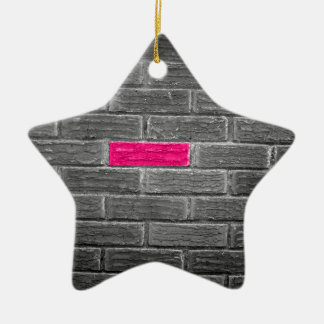Pink Brick In A Black & White Wall Christmas Tree Ornament