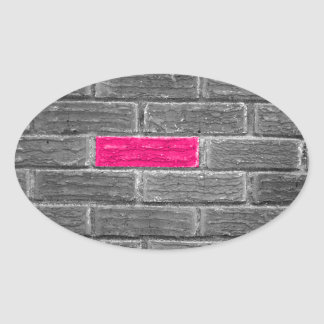 Pink Brick In A Black & White Wall Oval Sticker