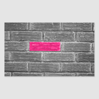 Pink Brick In A Black & White Wall Rectangular Sticker