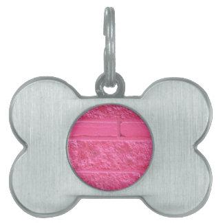 Pink Brick Wall Pet Tag