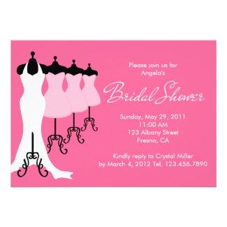 Pink Bridal Dresses Bridal Shower Invitation
