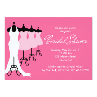 Pink Bridal Dresses Bridal Shower Invitation