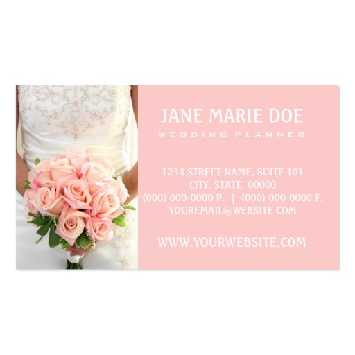 Pink Bridal Roses Business Cards