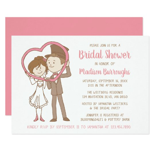 pink bridal shower cartoon brown bride groom heart invitation