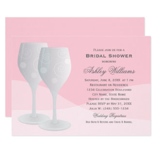 Pink Bridal Shower | Cheers Wine Glasses Card