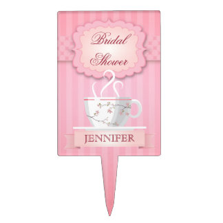 Pink Bridal Shower Tea Party Cake Topper