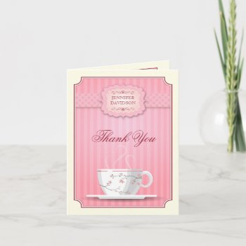 d8f94dadb178 Pink Bridal Shower Tea Party Thank You. This thank you note card for ...
