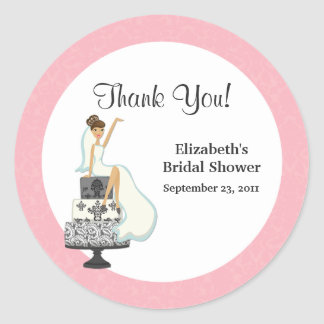 Pink Bridal Shower Thank You Stickers