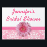 """Pink Bridal Shower Yard Sign<br><div class=""""desc"""">Pretty pink and white bridal shower yard sign, with graphics of a damask pattern, on the bottom, a pink ribbon and lovely pink Gerber daisy, in the middle. Pink custom script text, at the top, is ready to personalize for your bridal event. Easy way for guests to spot your house....</div>"""