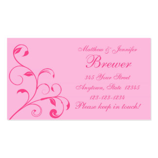 Pink Bride and Groom Contact Information Card Business Card