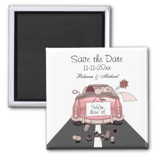 """Pink Bride and Groom Getaway car """"Save the Date"""" 2 Inch Square Magnet"""