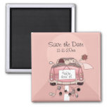 "Pink Bride and Groom Getaway car ""Save the Date"" 2 Inch Square Magnet"