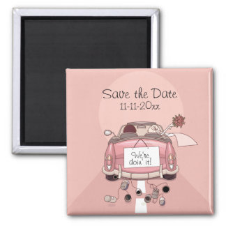 """Pink Bride and Groom Getaway car """"Save the Date"""" Magnets"""